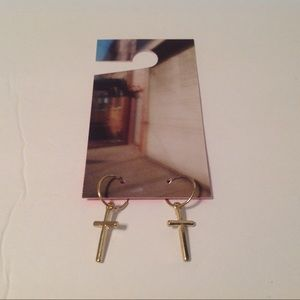 Urban Outfitters Gold Tone Cross Earrings
